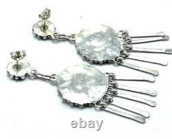 Zuni Handmade Sterling Silver Turquoise Needlepoint Post Earrings T. Leekity