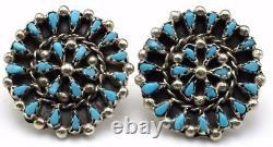 Zuni Handmade Sterling Silver Turquoise Petit Point Earrings Trudy Leekity