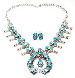 Zuni Handmade Sterling Silver Turquoise Squash Blossom Necklace Set -Effie C