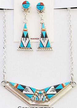 Zuni Handmade Sterling Silver with Multi-Stone Inlay Necklace and Earrings