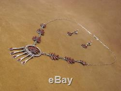 Zuni Indian Jewelry Coral Handmade Necklace Earring Set by Etsate