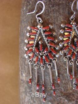 Zuni Indian Jewelry Sterling Silver Coral Earrings! Kevin Leekity