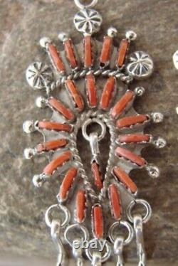Zuni Indian Jewelry Sterling Silver Coral Petit Point Post Earrings! Kevin Le