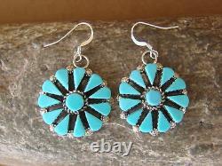 Zuni Indian Jewelry Sterling Silver Flower Dangle Earrings by Merlinda Chavez