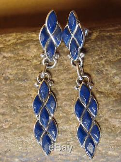 Zuni Indian Jewelry Sterling Silver Lapis Dangle Earrings- L. Chavez
