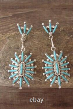 Zuni Indian Jewelry Sterling Silver Needle Point Turquoise Post Earrings! Cec