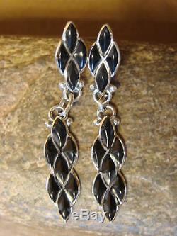 Zuni Indian Jewelry Sterling Silver Onyx Dangle Earrings- L. Chavez