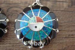 Zuni Indian Jewelry Sterling Silver Opal Sunface Dangle Earrings