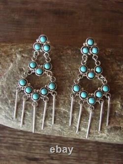 Zuni Indian Jewelry Sterling Silver Turquoise Dangle Earrings
