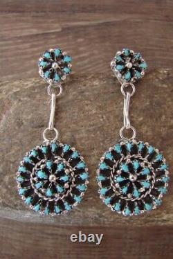 Zuni Indian Jewelry Sterling Silver Turquoise Earrings! Signed