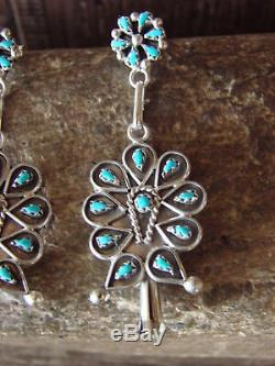 Zuni Indian Jewelry Sterling Silver Turquoise Earrings! Tricia Leekity