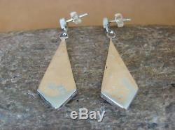 Zuni Indian Jewelry Sterling Silver Turquoise Inlay Post Earrings