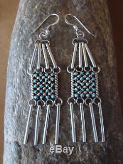 Zuni Indian Jewelry Sterling Silver Turquoise Post Dangle Earrings! Handmade
