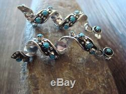 Zuni Indian Jewelry Sterling Silver Turquoise Spiral Earrings! Cheama
