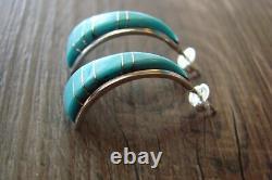 Zuni Indian Jewelry Turquoise Inlay Half Hoop Earrings! S. Lonjose