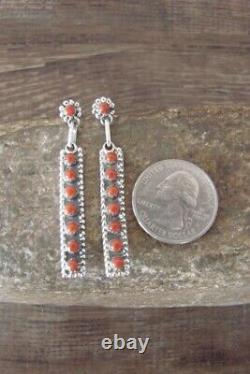 Zuni Indian Sterling Silver Coral Bar Post Earrings L Kiyite