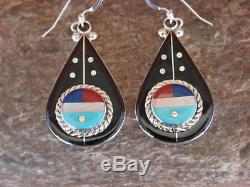 Zuni Indian Sterling Silver Inlay Sunface Dangle Earrings! Ahiyite