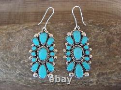 Zuni Indian Sterling Silver Turquoise Cluster Dangle Earrings! By Waatsa