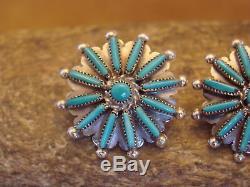 Zuni Indian Sterling Silver Turquoise Cluster Post Earrings! By Waatsa