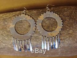Zuni Indian Sterling Silver Turquoise Dangle Earrings by Dishta
