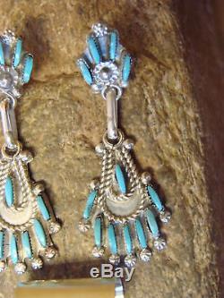 Zuni Indian Turquoise Needle Point Pendant & Earring Set! By Wayco