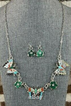 Zuni Inlay Butterfly and Flower Necklace and Earrings Tamara Pinto
