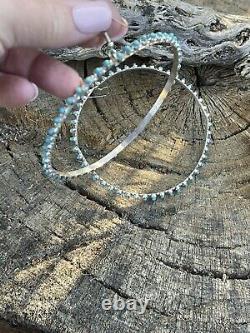 Zuni Jumbo Sterling Silver & Turquoise Hoop Earrings