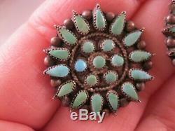 Zuni Native American Petit Point Turquoise Screw Back Earrings Sterling Silver