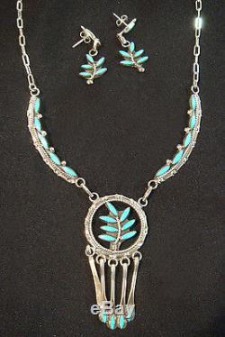 Zuni Necklace & Earrings Set by FLOYD ETSATE Sterling Silver & Turquoise