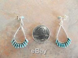 Zuni Needlepoint Dangle Sterling Silver Earrings, Signed, C. Lasiloo USA