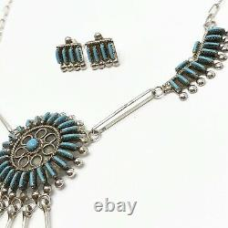 Zuni Needlepoint Turquoise Necklace Earring Set by Philander Gia Sterling 16g