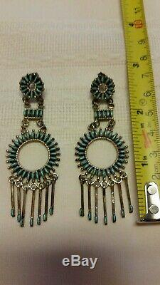 Zuni Silver Pendant Earrings Set With Needle Point Turquoise