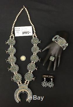 Zuni Squash Blossom Necklace Bracelet Ring Earrings Complete Set