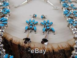 Zuni Squash Blossom and Earrings Sterling Silver & Turquoise Vie Bobelu