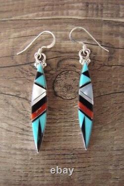 Zuni Sterling Silver Multistone Inlay Dangle Earrings Cleo Kallestewa