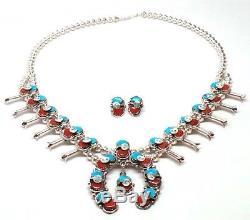 Zuni Sterling Silver Turquoise & Coral Squash Blossom Necklace Set -Effie C