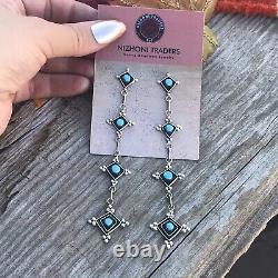 Zuni Sterling Silver & Turquoise Dangle Earrings