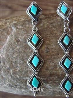 Zuni Sterling Silver Turquoise Dangle Earrings! P. Chavez
