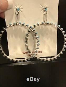 Zuni Sterling Silver & Turquoise Hoop Earrings