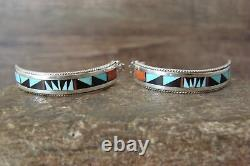 Zuni Sterling Silver Turquoise Inlay Crescent Hoop Post Earrings! Weahkee