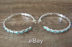 Zuni Sterling Silver Turquoise Large Hoop Post Earrings! Vacit