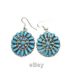 Zuni Sterling Silver Turquoise Petit Point Cluster Earrings Marcine Stead