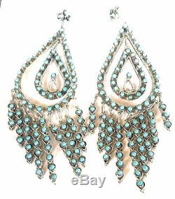 Zuni Sterling Silver & Turquoise Snake Eye Dangle Earrings