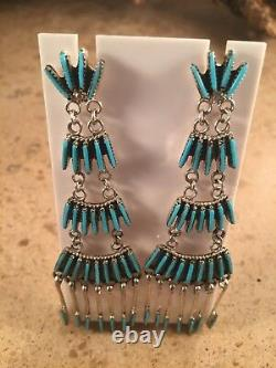 Zuni Sterling Silver and Turquoise Needle Point Dangle Earrings