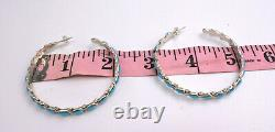 Zuni Turquoise And Sterling Silver 2 Inch Hoop Earrings
