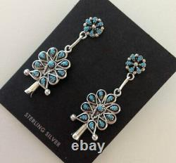 Zuni Turquoise Sterling Squash Blossom Post Earrings Signed Tricia Leekity