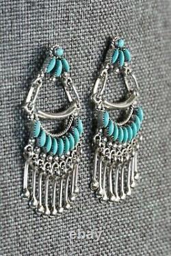 Zuni Turquoise and Sterling Silver Earrings Stewart Nakatewa