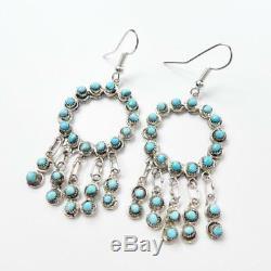 Zuni Wayne Johnson Sterling Silver Snake Eye Turquoise Hoop Earrings with Fringe
