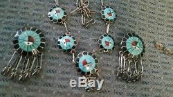Zuni vintage Native American necklace and earrings set Burdian Soseeah